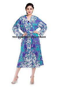 Ladies Dressing Gown Cotton Mandala Indian Warm Bath Robe
