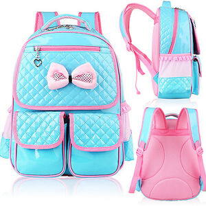 Details about Kid Girls Princess Backpack Cute Bowknot Leather Book Satchel School  Bag Stylish