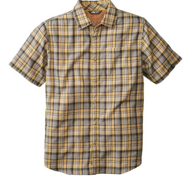 The North Face Men Baddeley Plaid Shirt Short-Sleve Poplin Face Chambray Back XL