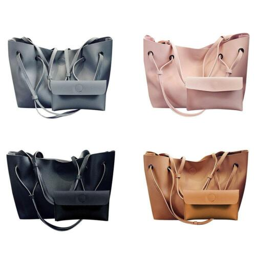 2pcs//set Women PU Leather Soft Shoulder Bag Tote Purse Handbag Crossbody Satchel