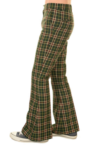 Men/'s Run /& Fly 60/'s 70/'s Vintage Retro Green Tartan Plaid Bell Bottom Trousers
