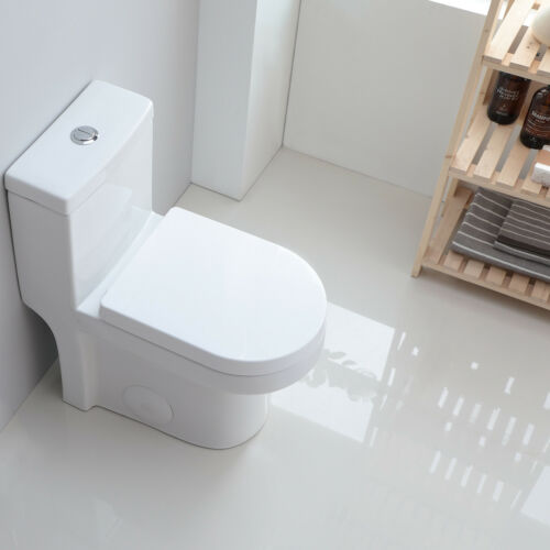 """HOROW Compact One Piece Toilet Dual Flush with Soft Closing Seat 25/""""*13.4/""""*28."""