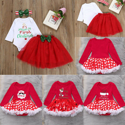 Christmas Tutu Outfits.Newborn Infant Princess Girl Christmas Tutu Tulle Lace Dress