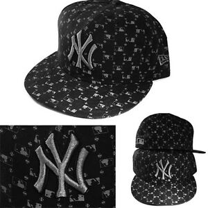 New-Era-New-York-Yankees-5950-Black-Fitted-Hat-Official-MLB-Logo-All-Over-Cap