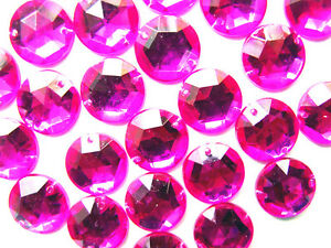 30-Hot-Pink-Faceted-Beads-Acrylic-Rhinestones-Gems-15-mm-Round-Flat-Back-Sew-On