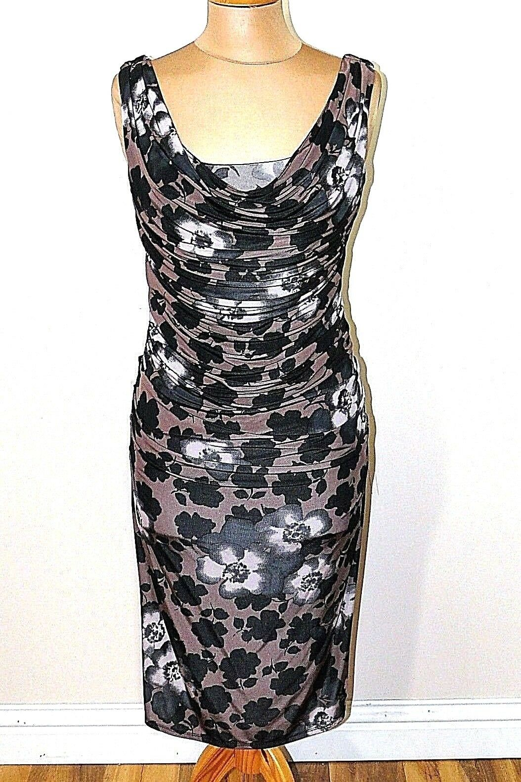 Phase Eight Joanna Multi Print Ruched Cruise Party Evening Dress Size 10 A11