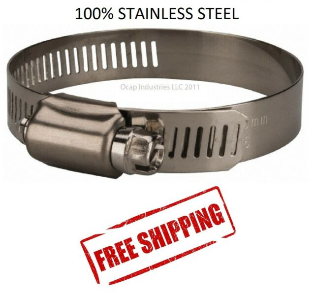 "#10 STAINLESS STEEL MARINE 1-1//16/"" HOSE CLAMPS ALL 300 STAINLESS"