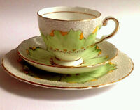 Tuscan English Vintage China Teaset Teacup Saucer Plate Trio Green Art Deco Lotu