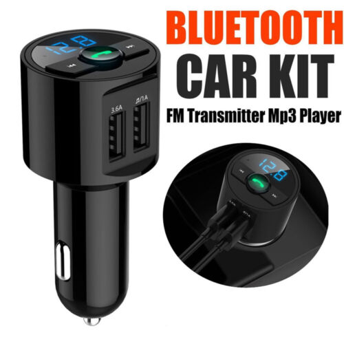 BLUETOOTH CAR KIT WIRELESS FM TRANSMITTER USB CHARGER MP3 PLAYER RADIO ADAPTER