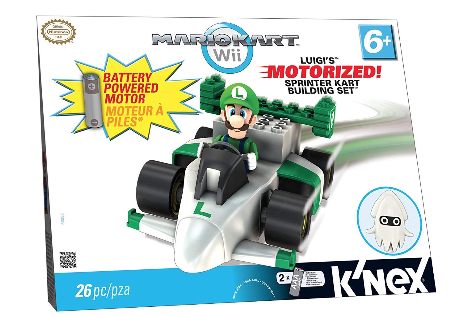 K'NEX Mario Kart Wii Building Set  Luigi's Motorized Sprinter Kart