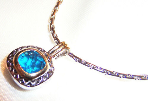 Cable Necklace w Petite Deep Teal Blue Stone