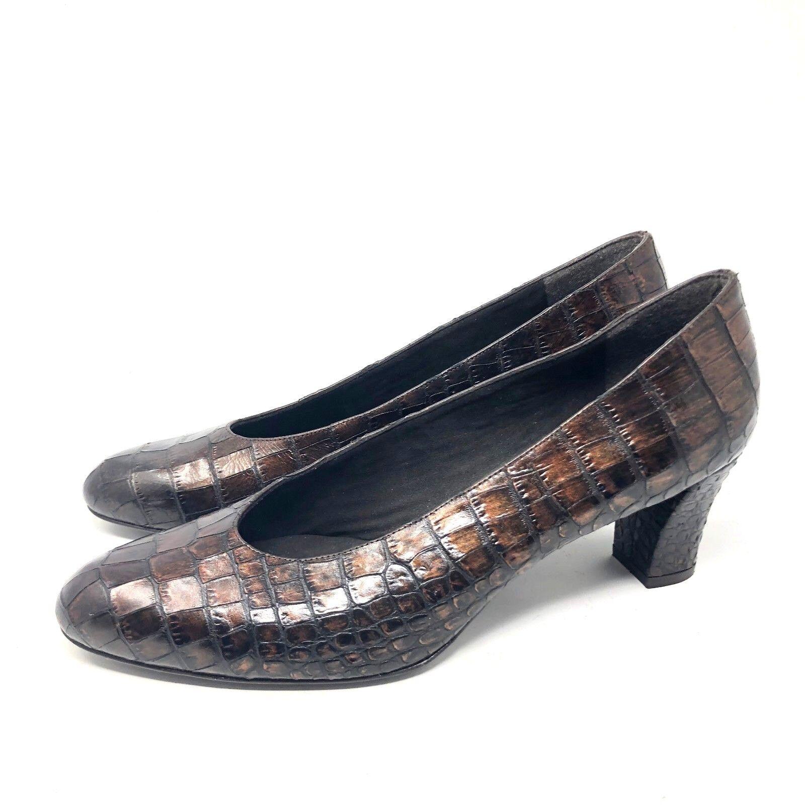 Stuart Weitzman Tilting Pump Braun Leder Leder Leder Croc Embossed Damenschuhe Schuhe SIZE 10 M dd337a