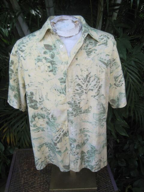 HAWAIIAN Aloha SHIRT M pit to pit 23 IZOD silk tropical flower foliage yellow