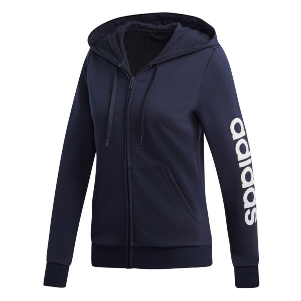 adidas neo Damen Sweatjacke W E LIN FZ HD dunkelblau/weiß (DU0648)