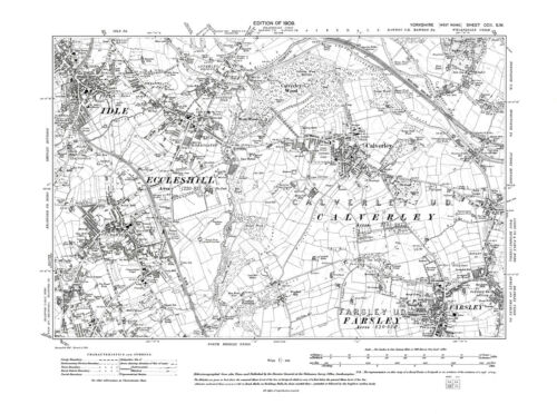 Yorkshire in 1909- Repro 202 SW Idle Eccleshill Farsley Old Map of Calverley