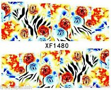 Full Wrap Water Transfers Nail Art Stickers Decals Blue Zebra Print Flowers 1480