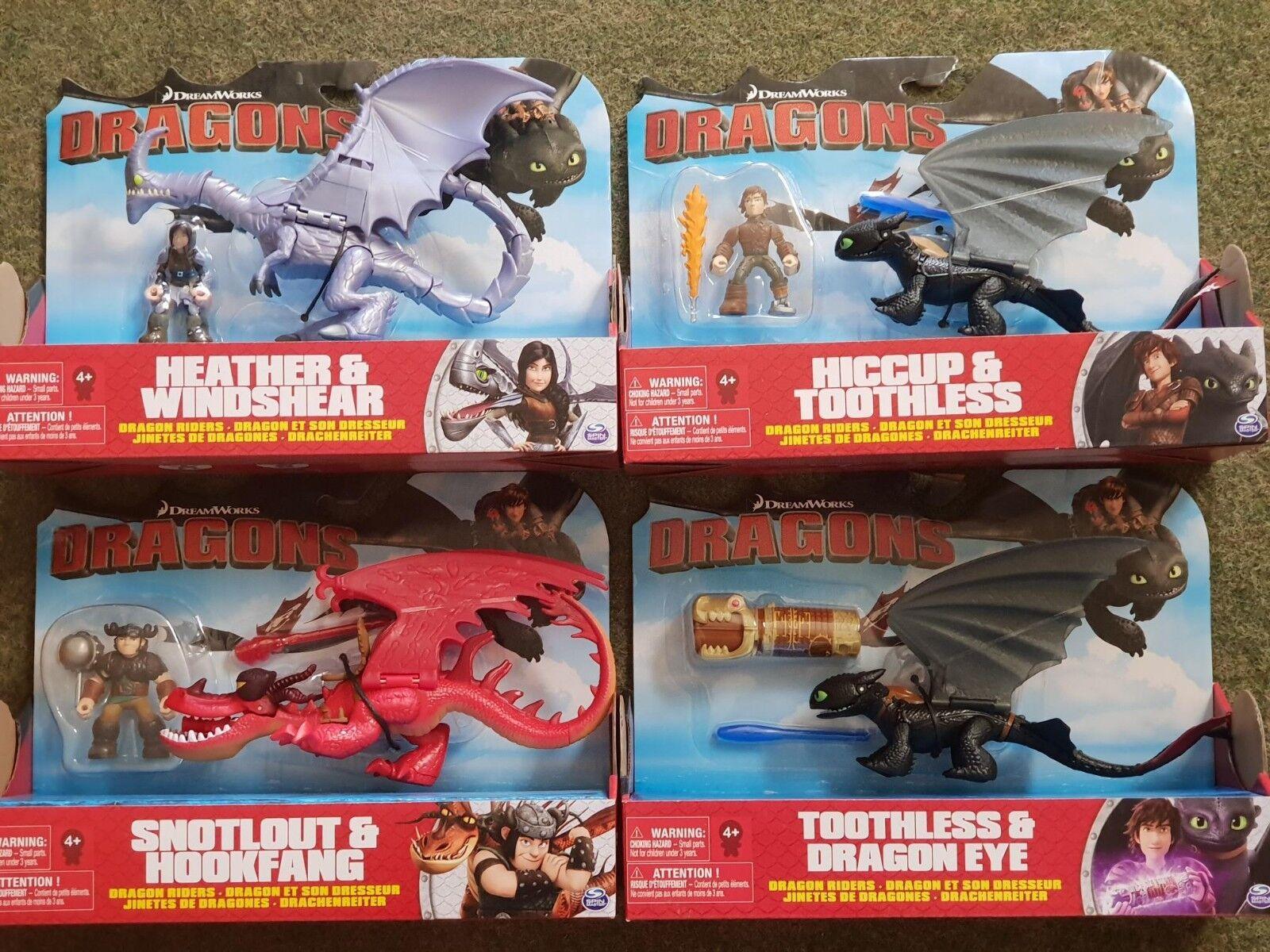 4er Set 4 Drachen Dragons Ohnezahn Hakenzahn Windfang Berk NEU OVP