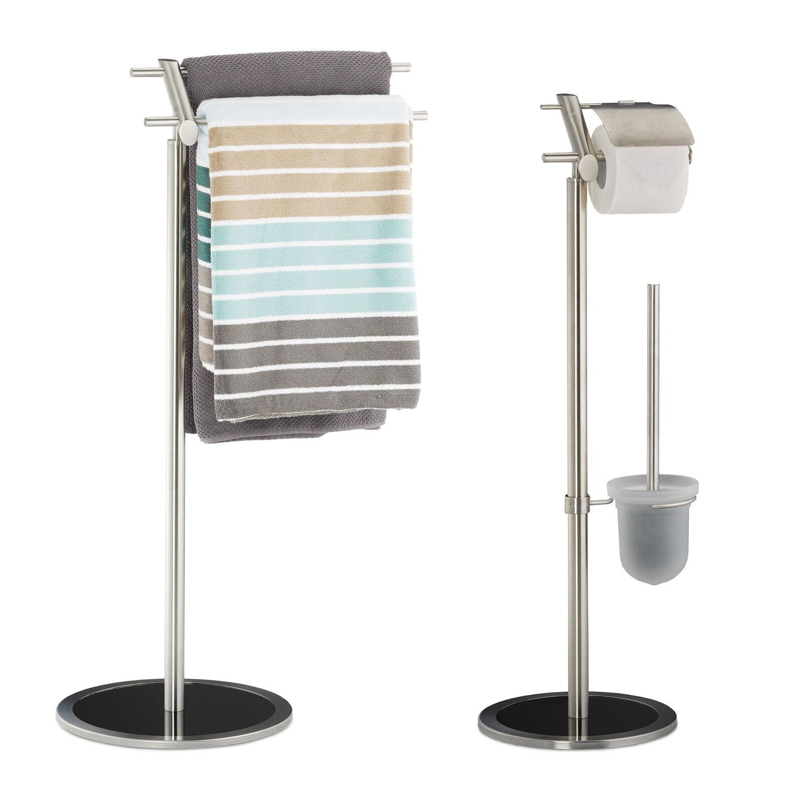 2 teiliges Badezimmer Set Handtuchhalter Toilettenpapierhalter Klobürstenhalter