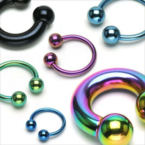 "1 PIECE 6g 5//8/"" Horseshoe Ball Titanium Rainbow  Ear 8MM Ball PA Internally"