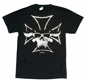 Danzig-Beast-Skull-Silver-Foil-Iron-Cross-Black-T-Shirt-Small-New-Official