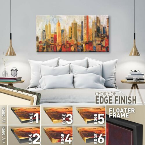 "DOWNTOWN PANORAMIC BRIDGE CITY CANVAS 48W/""x24H/"" METRO HEIGHTS by KAREN DUPRE"