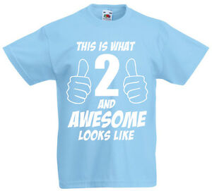 Image Is Loading 2 And Awesome 2nd Birthday Gift T Shirt