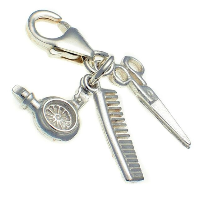 Hairdresser 3 Part Clip Charm, Hair Dryer, Comb, Scissors. Sterling 925 Silver.