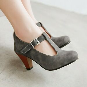 Charm-Womens-Spring-Mary-Jane-Buckle-T-Strap-Faux-Leather-Commute-Block-Shoes-US