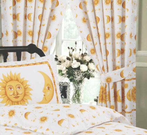 SINGLE DOUBLE KING SUPER KING SIZE SUN AND MOON STARS GOLD DUVET COVER CURTAINS