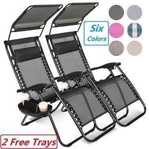 2-Zero-Gravity-Reclining-Chairs-Folding-Garden-Lounge-Outdoor-Beach-Lawn-W-Trays