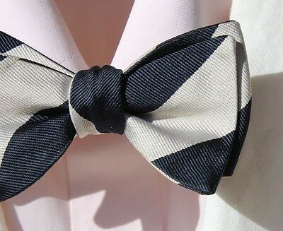 Polo Ralph Lauren Midnight Blue & White Striped Self-Tie Silk Bow Tie - USA