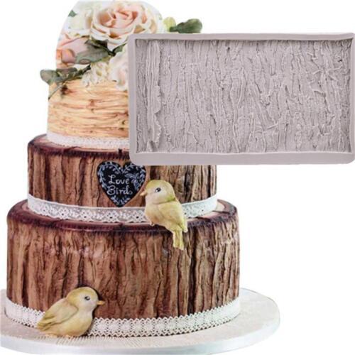 L/'écorce des arbres Moule Fondant Dentelle Molds glacon en Silicone Gâteau Chocolat Décoration Q
