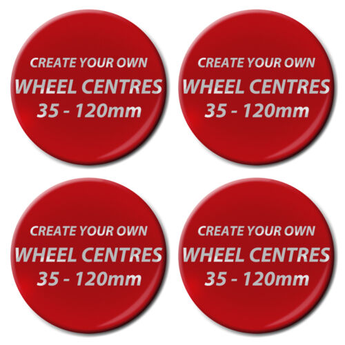 1 Set of 4 Create Your Own Resin Domed 3D Wheel Centres Up To 120mm