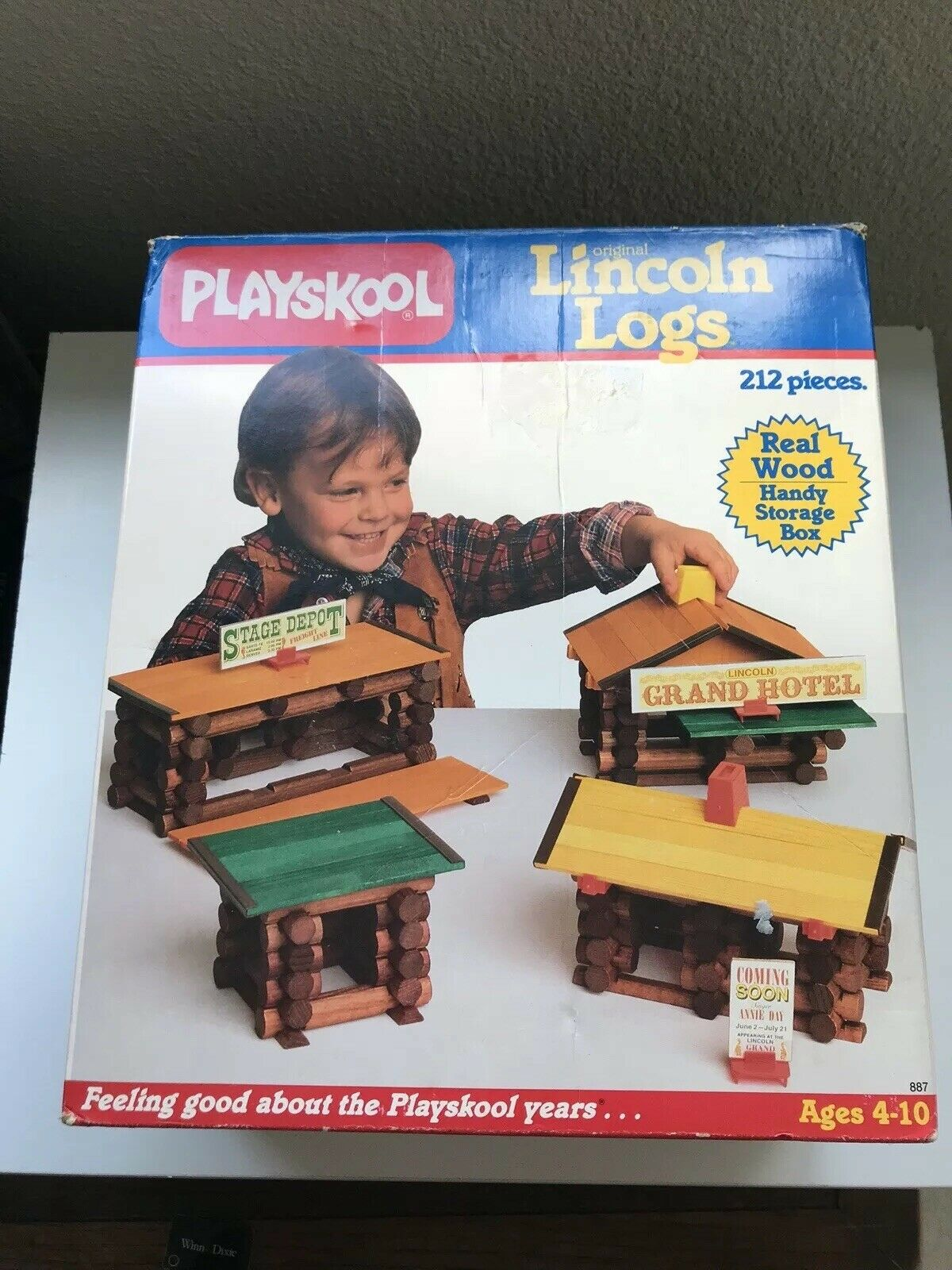 Vintage Vintage Vintage 1986 Playskool Original Lincoln Logs Real Wood Pieces Org Box Incompl 541e8c