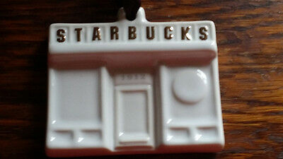 STARBUCKS CHRISTMAS ORNAMENT - RARE WHITE PORCELAIN 2014 PIKES PLACE STOREFRONT