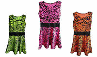 GIRLS LEOPARD PRINT SKATER DRESS KIDS CHILDRENS FANCY PARTY COSTUME EXCLUSIVE!!!