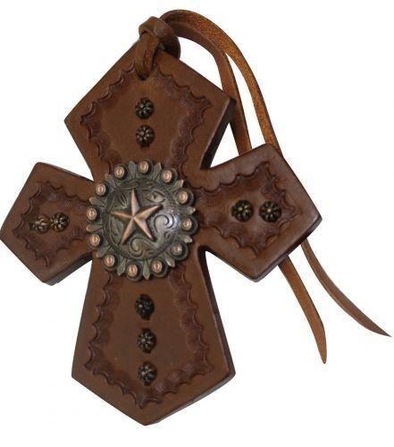 NOUVEAU!!! SHOWMAN Medium Cuir Selle cravate croix avec brossé Cuivre Star Concho!!