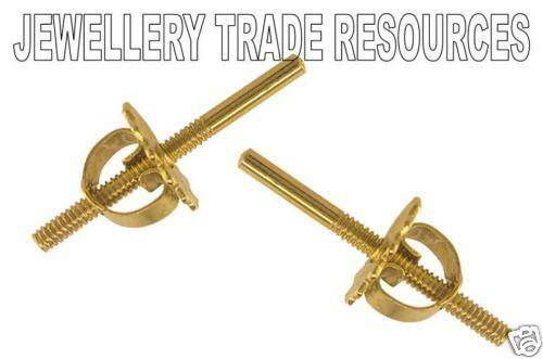 9ct YELLOW GOLD THREADED EARRING POST AND SCROLL