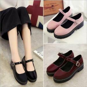 Cosplay-Lolita-Girl-039-s-Students-Pumps-Women-Shoes-Mary-Jane-Block-Heels-Buckle