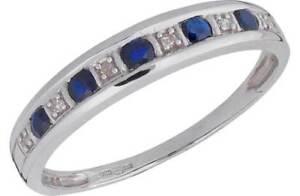 9-CT-Oro-Blanco-Azul-Zafiro-y-Diamante-acento-medio-anillo-de-la-eternidad