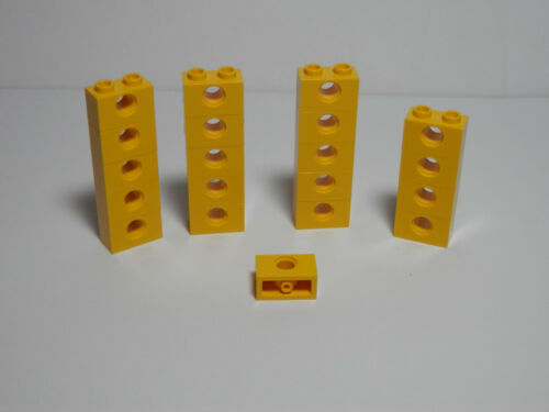 LEGO LEGOS Set of 20 NEW Technic Bricks 1 X 2 with Hole  YELLOW 2011 Ninjago