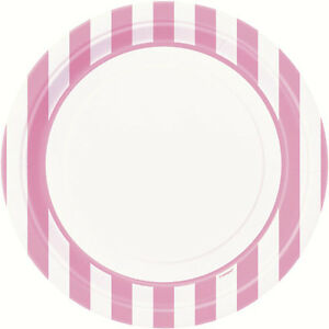 Image is loading LOVELY-PINK-AND-WHITE-STRIPES-LARGE-PAPER-PLATES-  sc 1 st  eBay & LOVELY PINK AND WHITE STRIPES LARGE PAPER PLATES (8) ~ Party ...