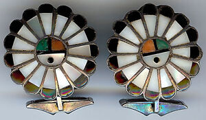 VINTAGE-ZUNI-INDIAN-SILVER-INLAY-TURQUOISE-CORAL-ONYX-SHELL-SUN-GODS-CUFFLINKS