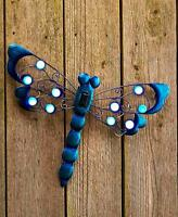 Solar Light Dragonfly Wall Sculpture Indoor Outdoor Fence Patio Home Decor