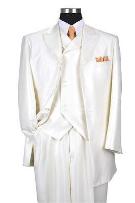 Men/'s Luxurious Wool Feel Herring Bone Striped Suit w// Fancy Vest #5264