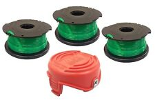 (3) Auto Feed Spools and Replacement Bump Cap for Black & Decker GH3000 Trimmer