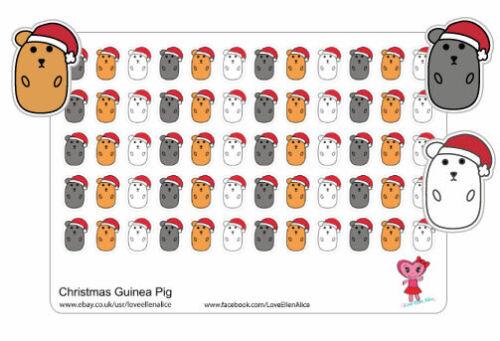 4 POUR PRIX De 3 Guinea Pig Noël Planner Stickers Scrap booking
