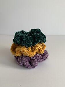 BUNDLE OF 3 Crochet Velvet Scrunchies