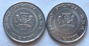 Singapore 2 pcs 2nd Series 1990 10 cents coin