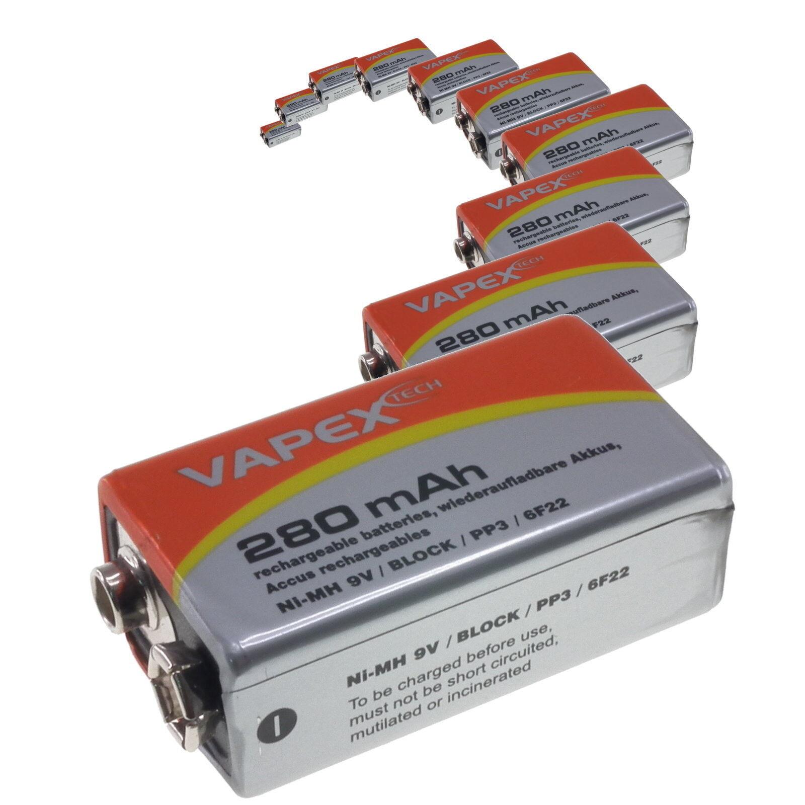 Replacement for 9V Alkaline 8.4V 280mAh rechargeable NiMH PP3 battery Vapex-Tech